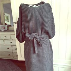 London times charcoal grey sweater dress Classic, soft and comfortable sweater dress. Charcoal grey knit, belted waist and boat neck. Perfect with skinny jeans or leggings. Falls above the knee. Gently worn in excellent condition. London Times Dresses