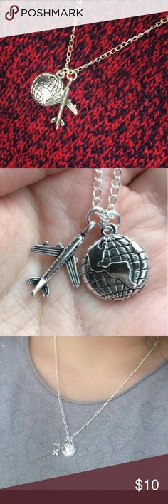 Silver airplane and globe necklace Mini globe and plane charm necklace. Perfect gift for anyone that loves to travel. Jewelry Necklaces