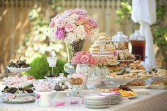 Beautiful! English tea style dessert table- perfect for my Bridal shower :)