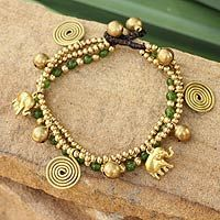 Shop for Handmade Brass 'Green Siam Elephants' Quartz Bracelet (Thailand). Get free delivery On EVERYTHING* Overstock - Your Online Jewelry Destination! Simple Bracelets, Gemstone Bracelets, Handmade Bracelets, Handcrafted Jewelry, Handmade Beads, Green Quartz, Anklet, Jewelry Design, Diy Jewelry