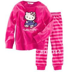 Shipping 2013 New Cotton Hello Kitty Pajamas Of The Children Leopard Pyjamas Kids Baby Clothing 2 Pcs Setsleepwear ,6sets/lot
