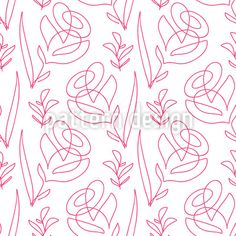 One Line Flowers Seamless Vector Pattern by Galyna Tymonko at patterndesigns.com Vector Pattern, Pattern Design, Line Flower, Line Patterns, Your Design, Studio, Abstract, Floral, Flowers
