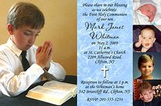 First Communion Invitations Idea - Big feature photo and 4 little ones (use pictures at different ages). Available in other background colors. More communion invitations and favors at http://www.photo-party-favors.com