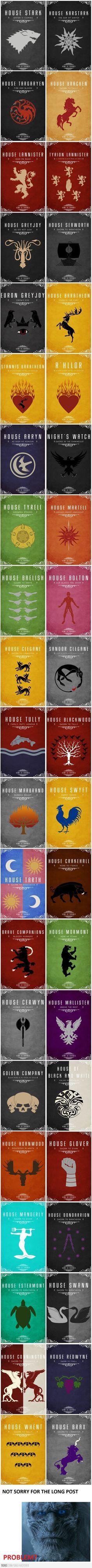 As casas de Game Of Thrones...