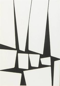 Karl Benjamin - Untitled - ink on paper - 1956