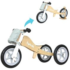 Hip Kids 2 in 1 Silver Wooden Tricycle Balance Bike Children Toddler Bicycle