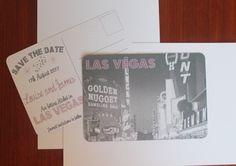 Save The Date Las Vegas Destination Wedding Postcard Invitation A5 Retro Vintage Style
