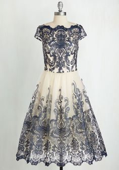 Exquisite Elegance Dress in Navy. Make an unforgettable entrance in this decadently embroidered dress by Chi Chi London! #blue #prom #modcloth