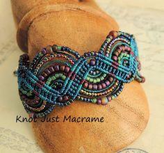 Micro macrame bracelet in raku colors by Sherri Stokey of Knot Just Macrame