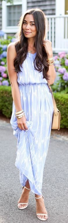 #summer #feminine #outfits | Blue And White Printed Loose Flare Skirt Tank Maxi Dress