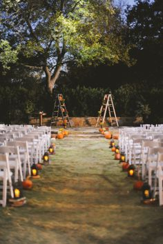 Pumpkin Lined Aisles | June Bug Company | Howell Family Farms | www.TheKnot.com