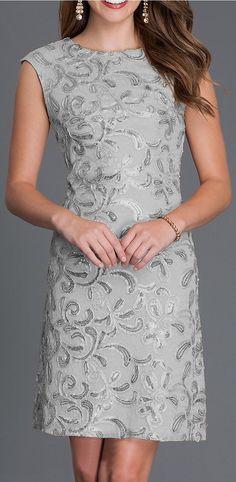 Knee Length Cap Sleeve Sequin Embellished Dress Silver