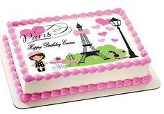 Paris Edible Birthday Cake Topper OR Cupcake Topper, Decor