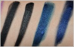 Love the Sonia Kashuk Indigo Gel Eyeliner (last swatch on right) paired with MAC Shroom eyeshadow! Swatches from temptalia.com