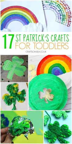 Easy and fun St Patricks Day crafts for toddlers with shamrock suncatchers, St Patricks Day shakers, easy rainbow crafts and loads more. Easy Art For Kids, Fun Projects For Kids, Crafts For Kids To Make, Kids Crafts, Art Crafts, Art Projects, Spring Toddler Crafts, Easy Toddler Crafts, Toddler Art