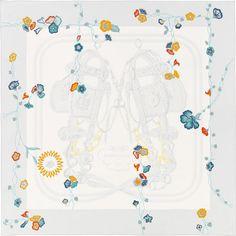 La Maison des Carrés Hermès   Brides Fleuries Color : pearl grey/golden yellow/turquoise  Ref. : H003099S 11
