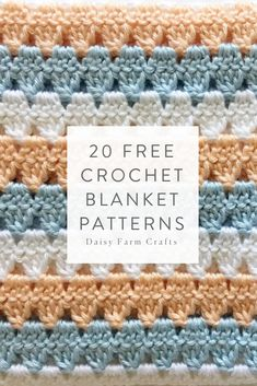Here are some of our favorite crochet baby blanket patterns we've made using Caron Simply Soft yarn! Here are some of our favorite crochet baby blanket patterns we've made using Caron Simply Soft yarn! Crochet Stitches Free, Afghan Crochet Patterns, Stitch Patterns, Knitting Patterns, Crochet Afghans, Crochet Blankets, Baby Blankets, Graph Crochet, Ravelry Crochet