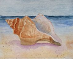 Seashell Painting, Original Seashell Art, Conch Watercolor Painting, Beach Conch Shell Painting, Wall Art Decor Beach Art Barbara Rosenzweig - Kunst: Stillleben 2 - Still life in art 2 - Watercolor Sea, Watercolor Paintings, Original Paintings, Beach Paintings, Watercolours, Original Art, Seashell Painting, Seashell Art, Starfish