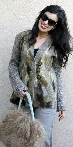 Nuno felted eco fashion classy beige brown grey long jacket woman handmade unique cardigan wool camel alpaca women warm jacket wearable art wear
