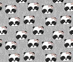 Panda with Bow - Slate Grey by Andrea Lauren fabric by andrea_lauren on Spoonflower - custom fabric