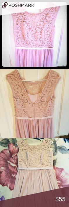 Lacy Cameo Dress Delicate, feminine, flowy, lace detailed dress. Dusty rose/cameo color. Almost a greyish pink. Hits just above the knee. Only worn once. Still has tags. David's Bridal Dresses Midi