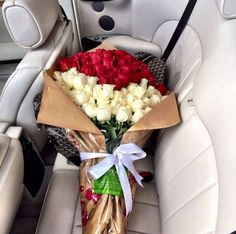 Who wouldn't want this gorgeous bouquet of red and white roses? My Flower, Pretty Flowers, Fresh Flowers, Flower Car, Flower Names, Flower Bomb, White Roses, Red Roses, It Goes On