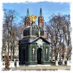 Bialystok, Iron Gazebo at Branicki Palace. Spires of Cathedral in background.