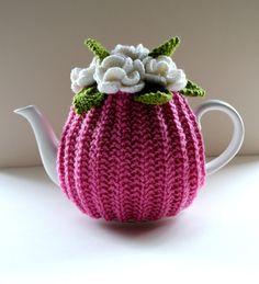 Strawberry Sherbet Garden Tea Cosy  Dark Pink  by taffertydesigns ♡