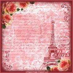 fondo vintage con chica, Tour Eiffel y rosas