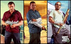 Concept art of Michael; Franklin and Trevor from Grand Theft Auto V
