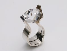 Ring | Rey Urban for A Fausing Denmark. Sterling silver and rock crystal. c.1970