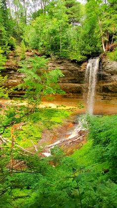 These are waterfalls in Michigan - 1 of 3 viewpoints on the trail