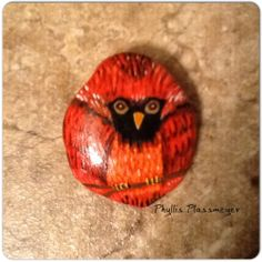 Cardinal bird painted rock by Phyllis Plassmeyer