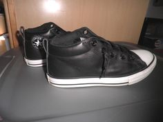 b758dd851ad949 Boys Converse Black Leather Mid Chuck Taylors Youth 4 EUC  Converse   AllStars