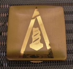 GLORIOUS Golden ART DECO or MODERN Vintage COMPACT Unused INSIDE & Wear OUTSIDE