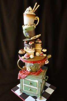 Stunning Gravity Defying Cakes - Teapot Standing Cake - Cake by Andres Enciso Gravity Cake, Gravity Defying Cake, Pretty Cakes, Beautiful Cakes, Amazing Cakes, Crazy Cakes, Fancy Cakes, Pink Cakes, Unique Cakes
