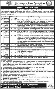 Pakhtunkhwa Hydel Development Organization 37 Jobs, 15 Jan 2018 Daily Mashriq