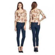d5573b0add9 Urban Love 3 4 Women s Printed Top with Suede Ties