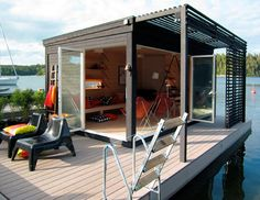 Modern Kenjo Cabin is a Solar-Powered Floating Room For a Family in Sweden Kenjo Floating Guest House – Inhabitat - Sustainable Design Innovation, Eco Architecture, Green Building Prefab Cabins, Prefab Homes, Prefab Cottages, Prefab Guest House, Guest Houses, Float Room, Casas Containers, Floating House, Little Houses