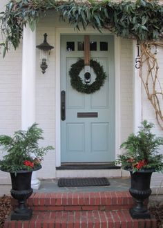 door color & notice the upholstery strapping holding up the wreath.