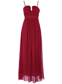 Burgundy chiffon maxi dress with panel cinched in waist. Top is structured with wiring and hidden 100 polyester. Support. Detachable straps. Length 130cm. Hand wash only.