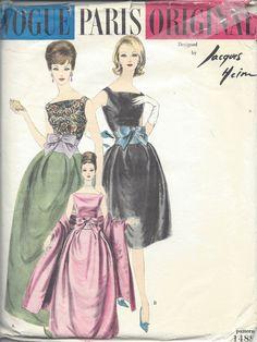Vintage Vogue Sewing Pattern Dress & Stole by Jacques Heim for sale online Vintage Vogue Patterns, Vogue Sewing Patterns, Knitting Patterns, Vintage Designs, Sewing Designs, Pattern Designs, Vintage Dresses 1960s, Vintage Outfits, Vintage Fashion