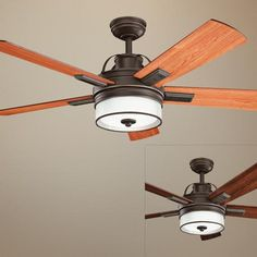 "52"" Kichler Lacey Olde Bronze Ceiling Fan - looking at to coordinate with Lacey close to ceiling fixture in bedroom area"