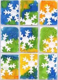 Water color snowflakes- sprinkle salt over the paint before the paint dries to get an added wintery effect.