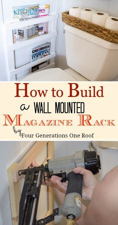 How to build a wall mounted magazine rack. Perfect for bathroom storage by Four Generations One Roof