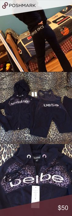 Bebe Swarovski cheetah lurex sweatsuit w/free  top Bebe 2 piece Swarovski crystal cheetah sweatsuit with free Athleta top.  1.  Lurex hoodie had Swarovski Bebe logo and silver accents.  Full zip hood and metallic black waistband wraps around back to help give jacket a nice shape. Size small 2.  Matching sweat pants have Swarovski Bebe logo on rear. Same black metallic waistband as jacket.  String closure. Size XS.  3.  Free athleta top matches perfectly w/set size small. All worn once and in…