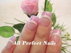 Colored french tip with glitter Colored French Tips, Glitter French Tips, Glitter Acrylics, Acrylic Nails, Perfect Nails, Acrylic Colors, Pink Nails, Cute Nails, Nail Ideas