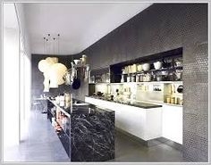 Image result for BLACK and  MARBLE kitchen