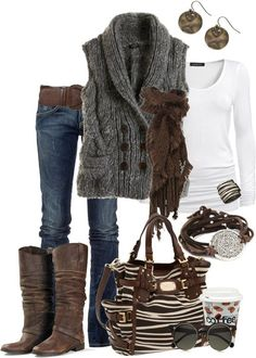 Women's outfits. Women's fashion. Women's clothes. Fall. Winter. Boots. Knit vest. Zebra striped purse. Scarf.