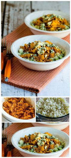 Slow Cooker Buffalo Chicken Cauliflower Rice Bowl from Kalyn's Kitchen [Featured on SlowCookerFromScratch.com] #LowCarb #GlutenFree